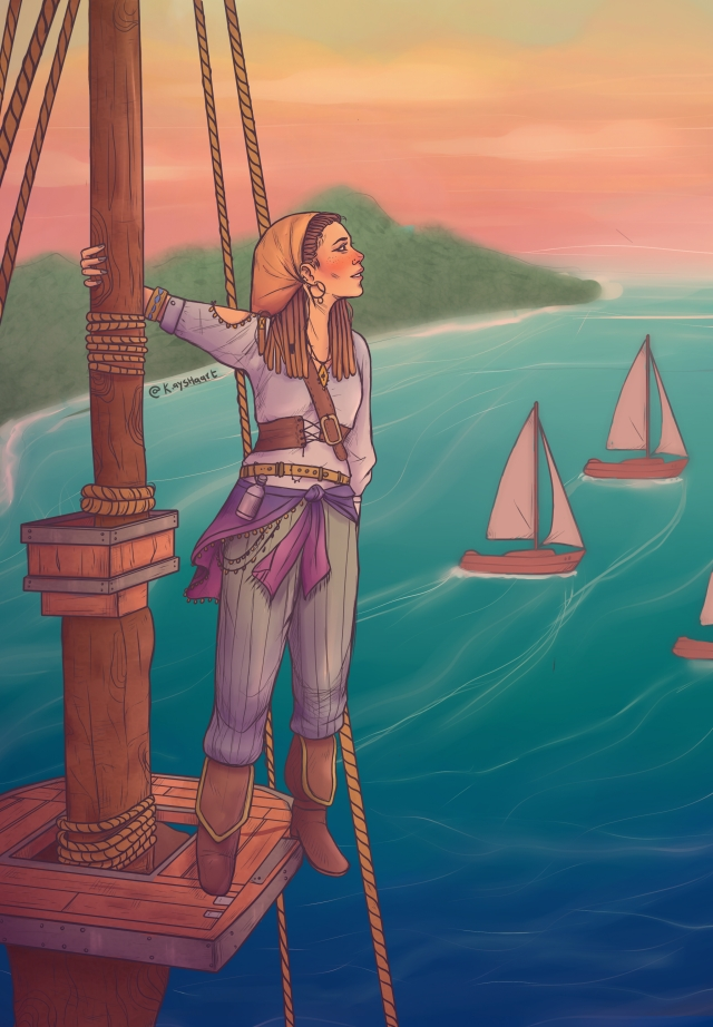 pirate woman on ship looks to the skies