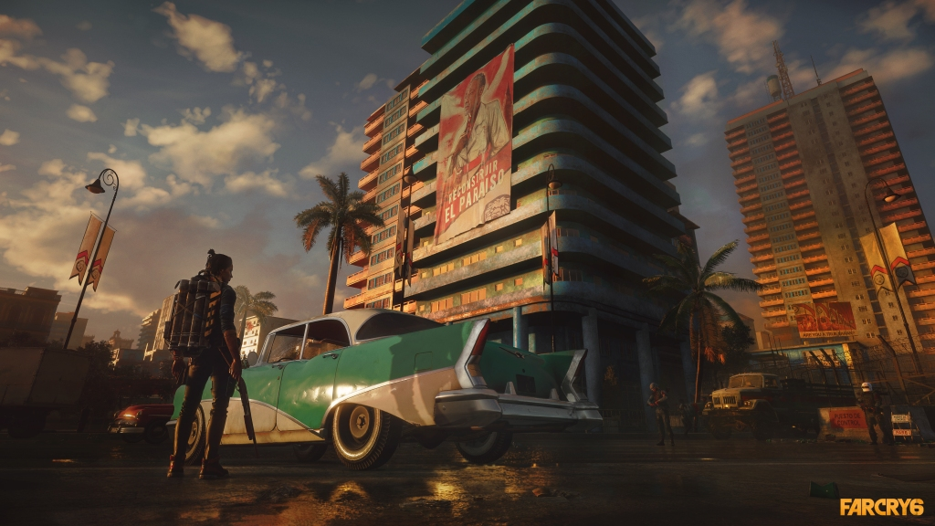 far cry 6 Dani in the capital city of Yara, car, high rise apartments and poster of  Antón Castillo